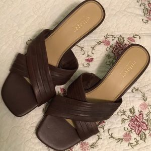 Brown slide on sandals